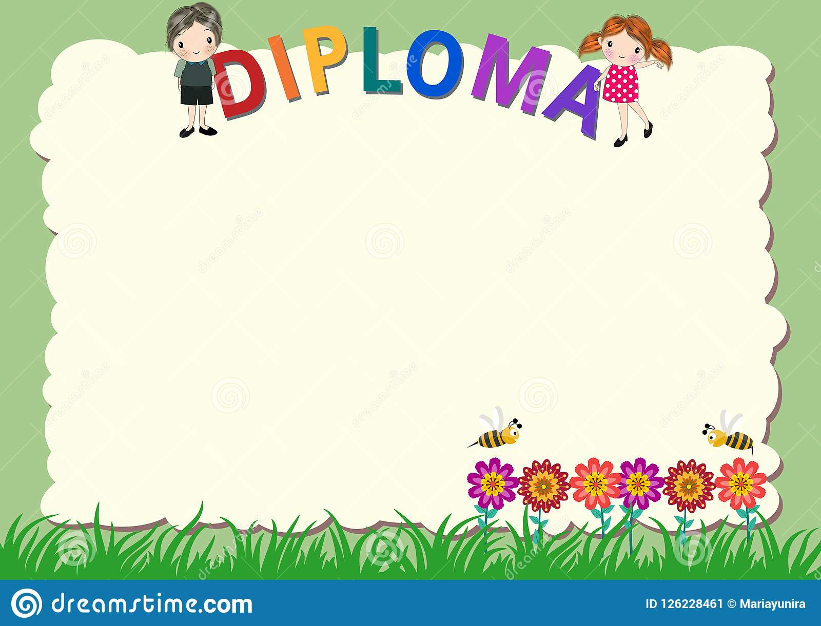 kindergarten diploma certificate template stock illustration