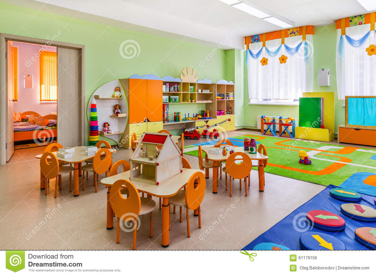 Modern Classroom For Kids ~ Kindergarten game room stock photo image of