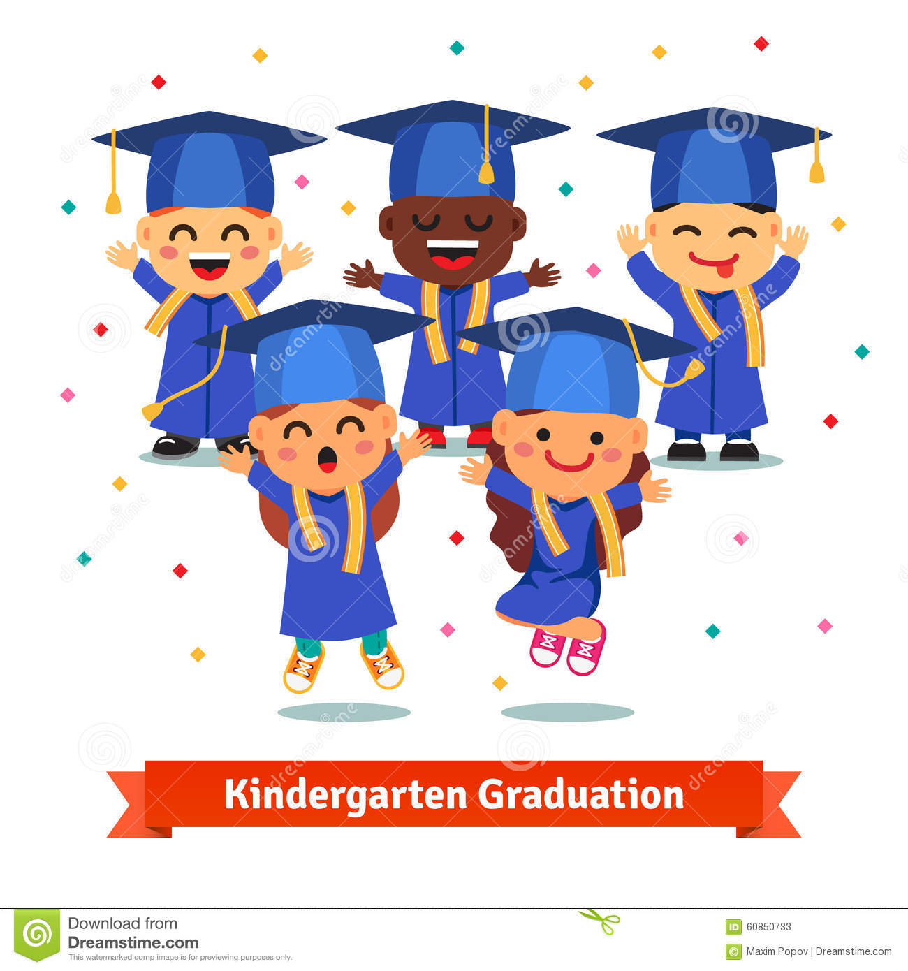 Kindergarten graduation party. Kids in mortar boards and gowns jumping ...