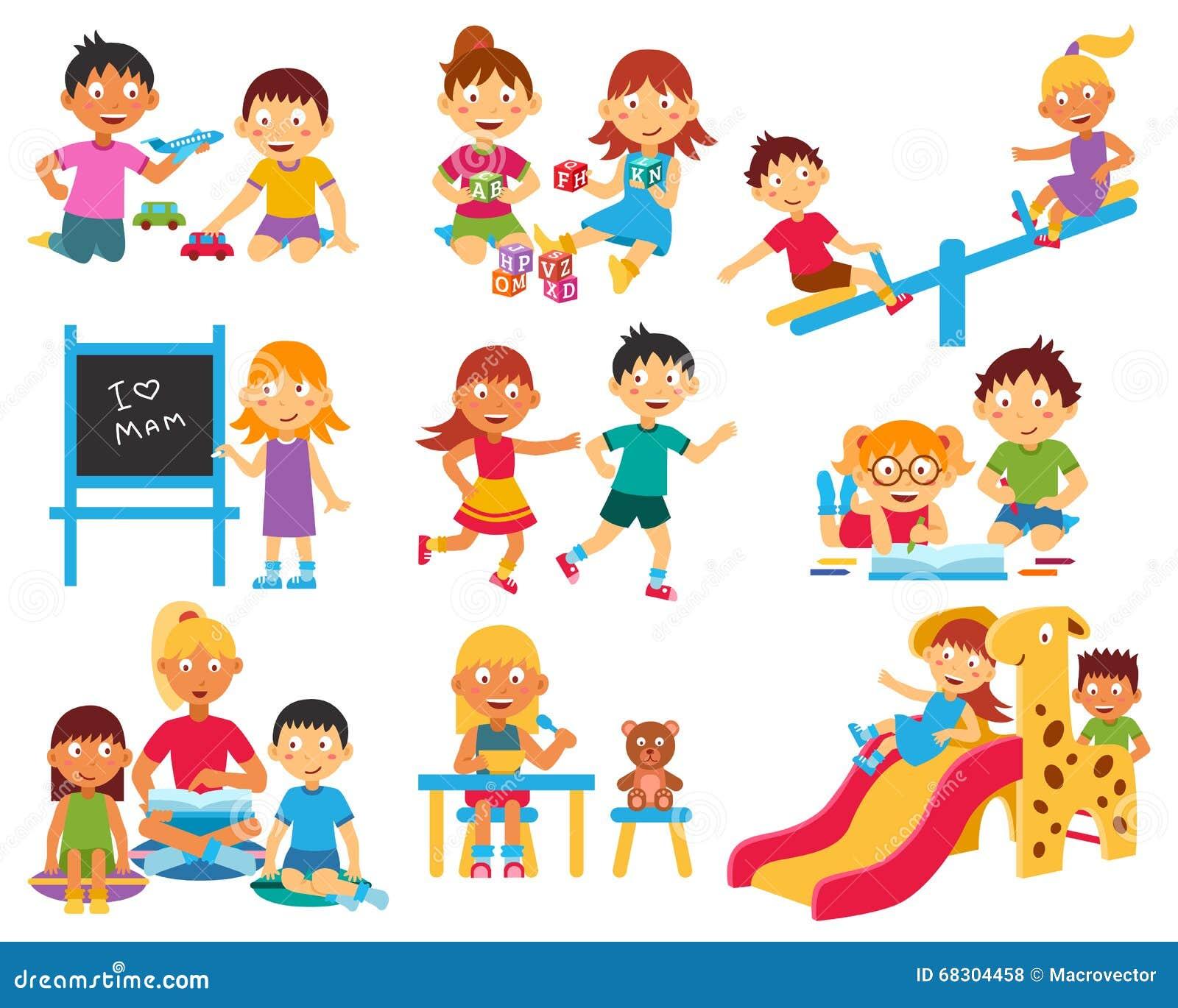 kindergarten icons set stock vector illustration of class 68304458. Black Bedroom Furniture Sets. Home Design Ideas