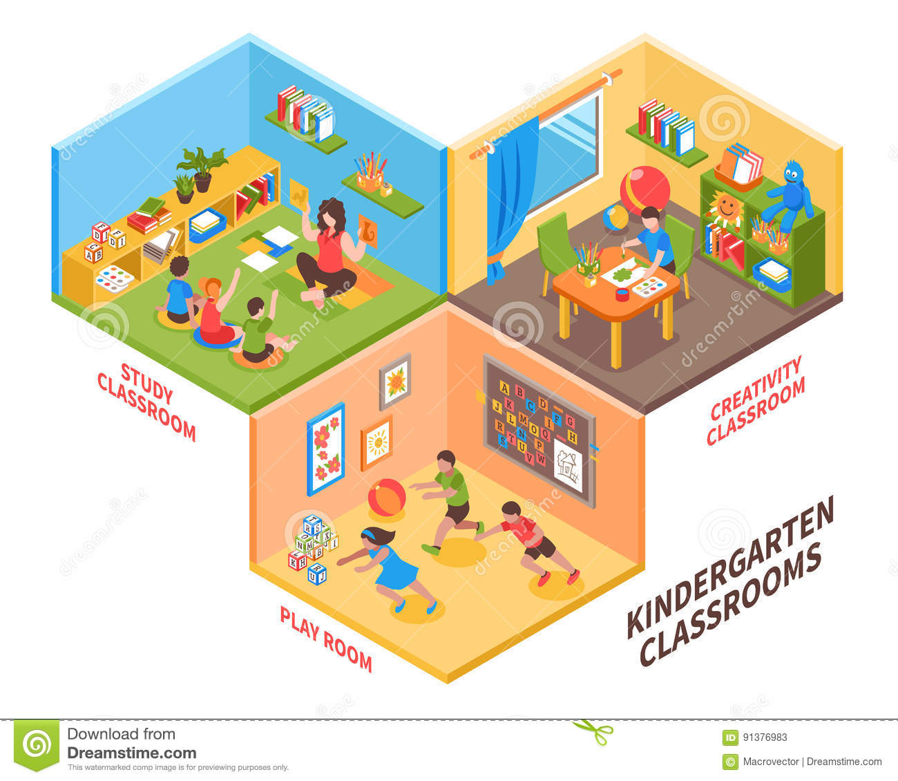 Play And Study Room: Kindergarten Indoor Isometric Illustration Stock Vector