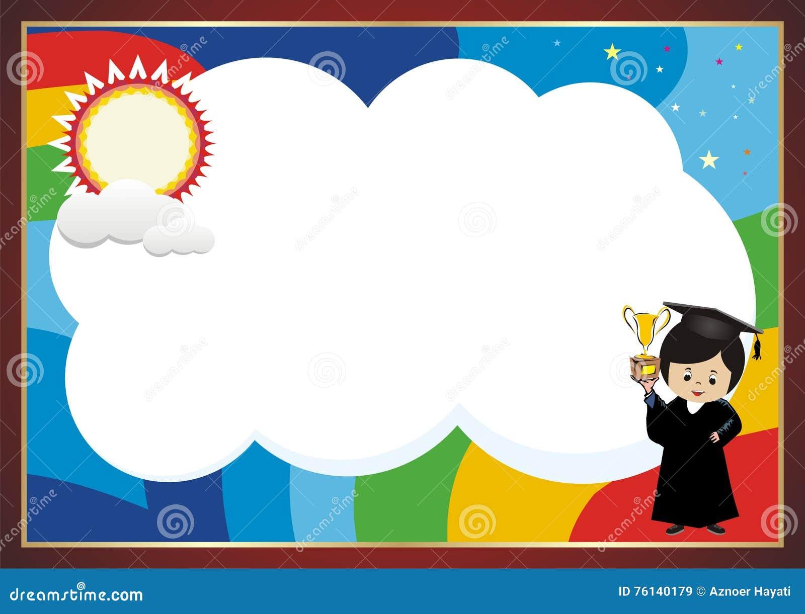 Kindergarten, Kid Diploma With Rainbow Background Stock ...  Kindergarten, K...