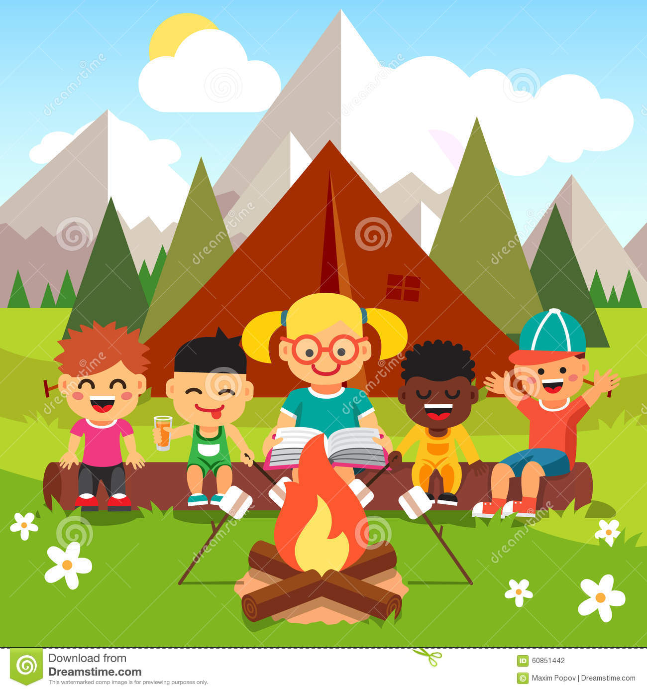 kindergarten kids camping in the forest stock vector image 60851442 listening clip art student listening clip art image