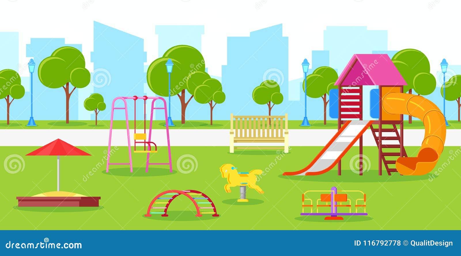 Kids Spring Activities Vector Illustration
