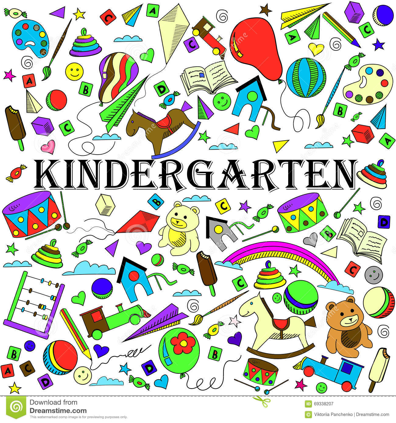 Line Drawing Kindergarten : Doodle vector kindergarten elements cartoon