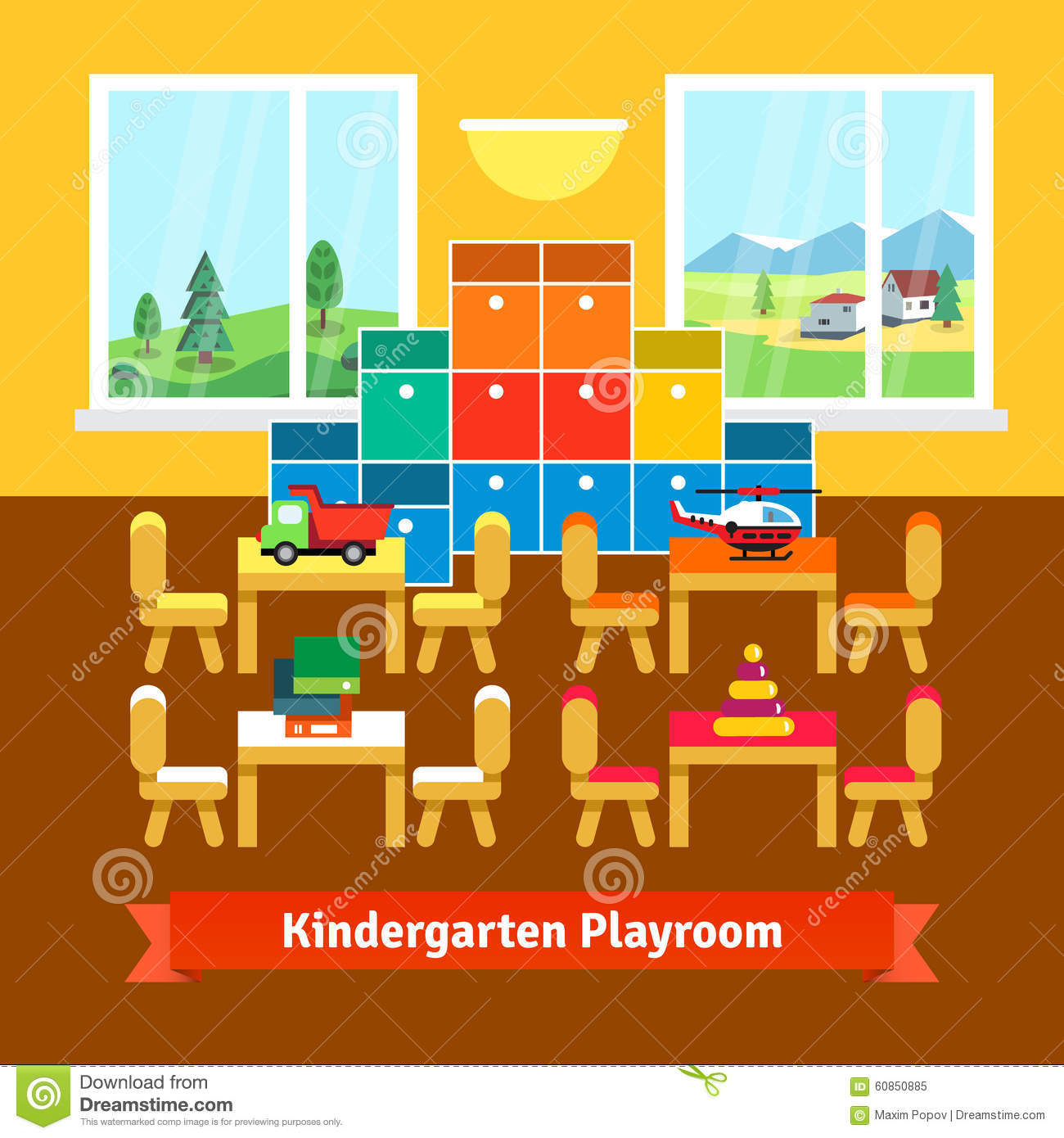 Kindergarten Playroom Classroom Stock Vector Image 60850885