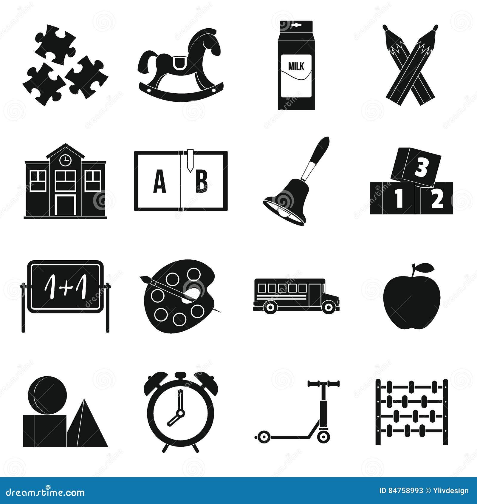 kindergarten symbol icons set simple style stock vector illustration of chalk geometry 84758993. Black Bedroom Furniture Sets. Home Design Ideas