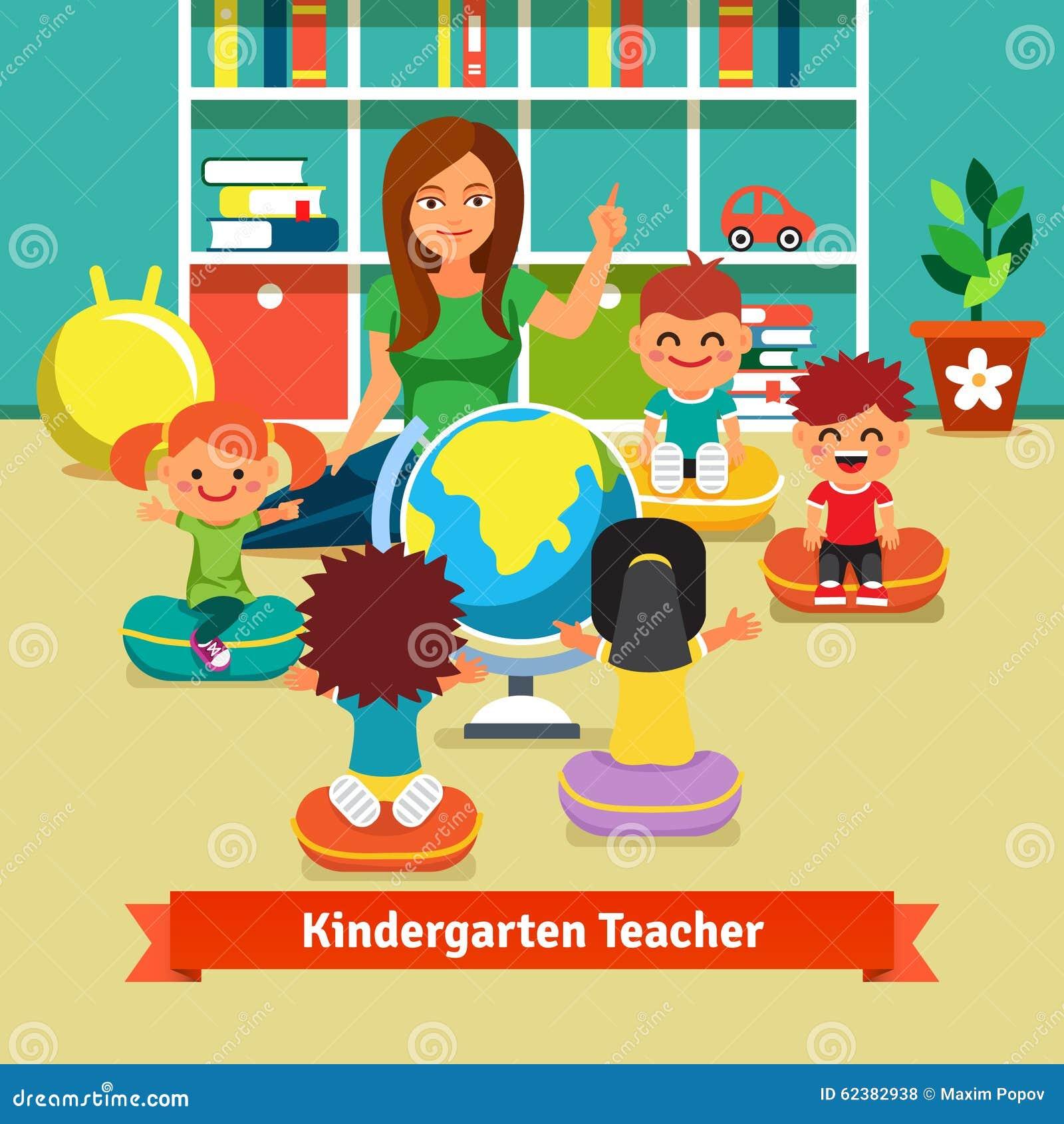 kindergarten teacher teaching kids geography stock vector bookshelf clipart image bookshelf clipart image