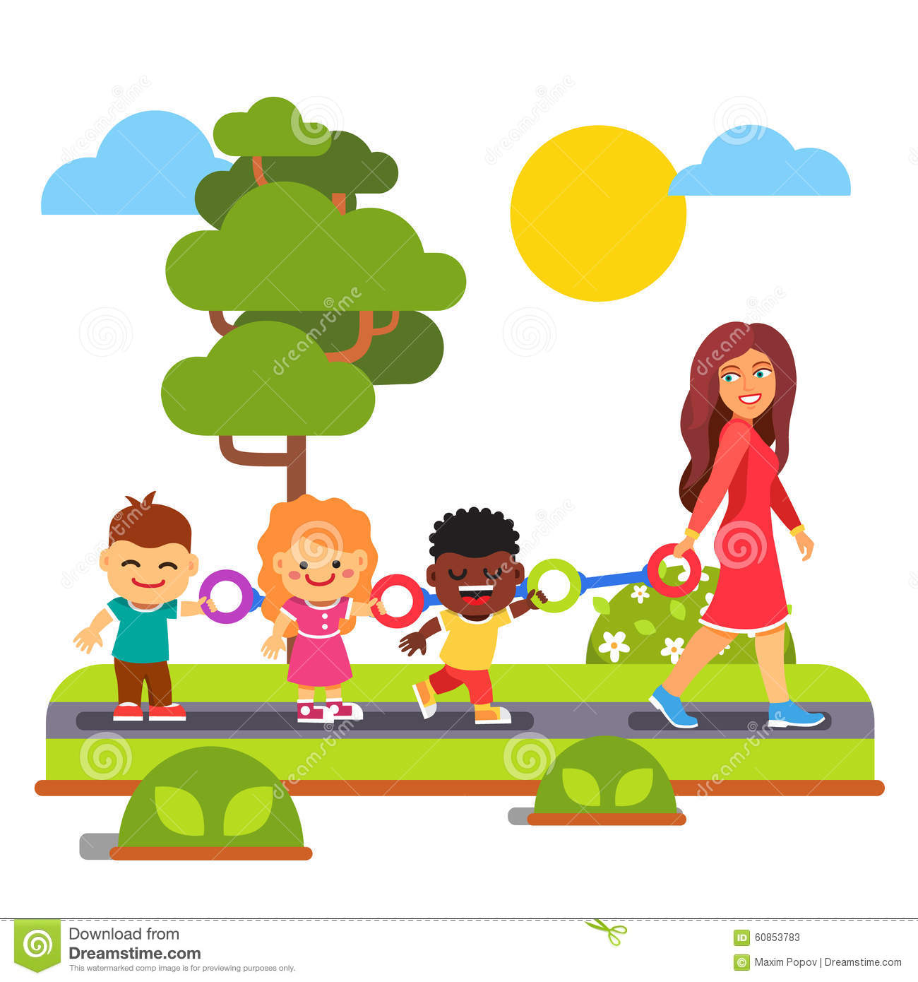 Kindergarten Teacher Walking With Kids Outdoors Stock