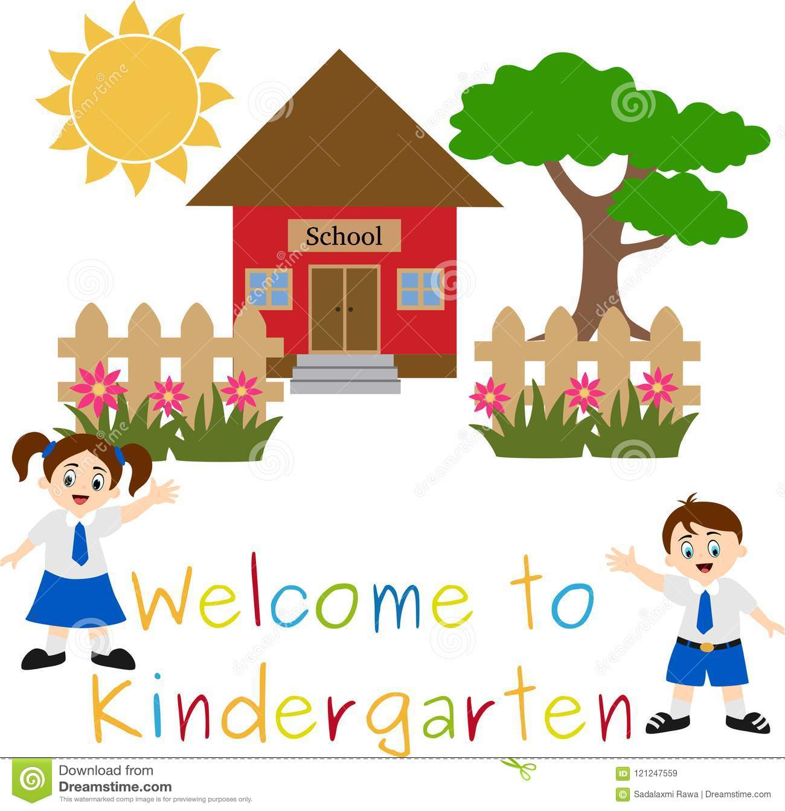 Kindergarten Welcoming to School Illustration