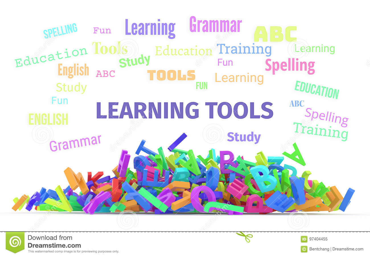 Learning Tools Conceptual Word Cloud With Stack Of Colorful Alphabets Letters From A To Z For Education Isolated On White Background 3D Rendered Image