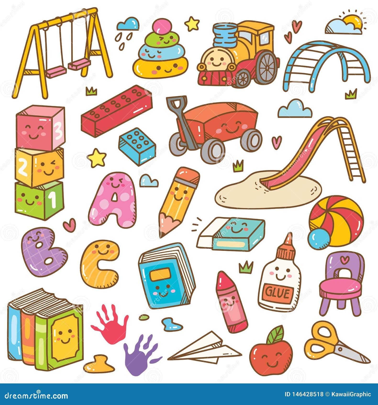 Kindergartenspielwaren und Ausr?stungsgekritzelsatz