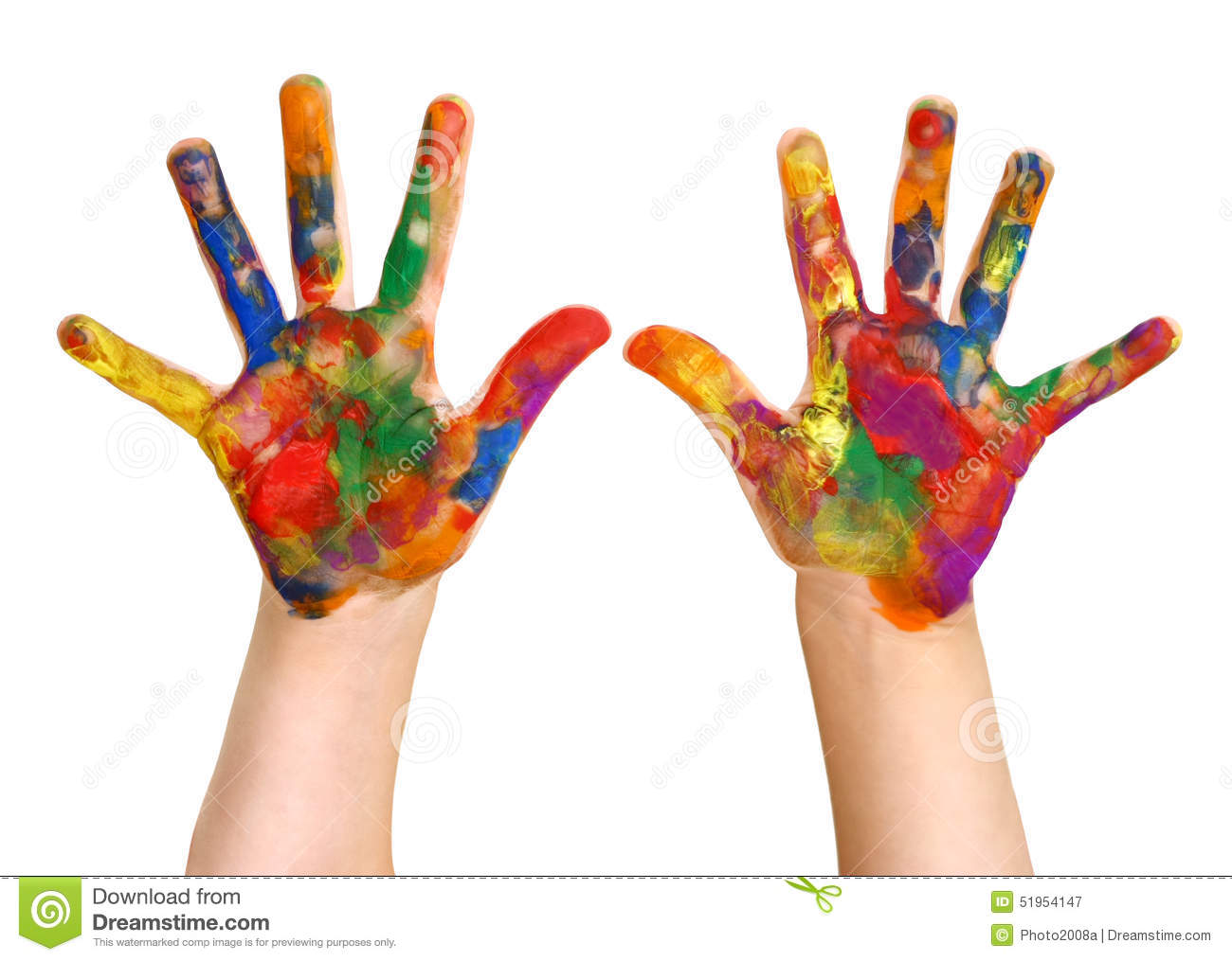 Kindergartner rainbow hand painting painted hands stock for Watercolor paintings of hands
