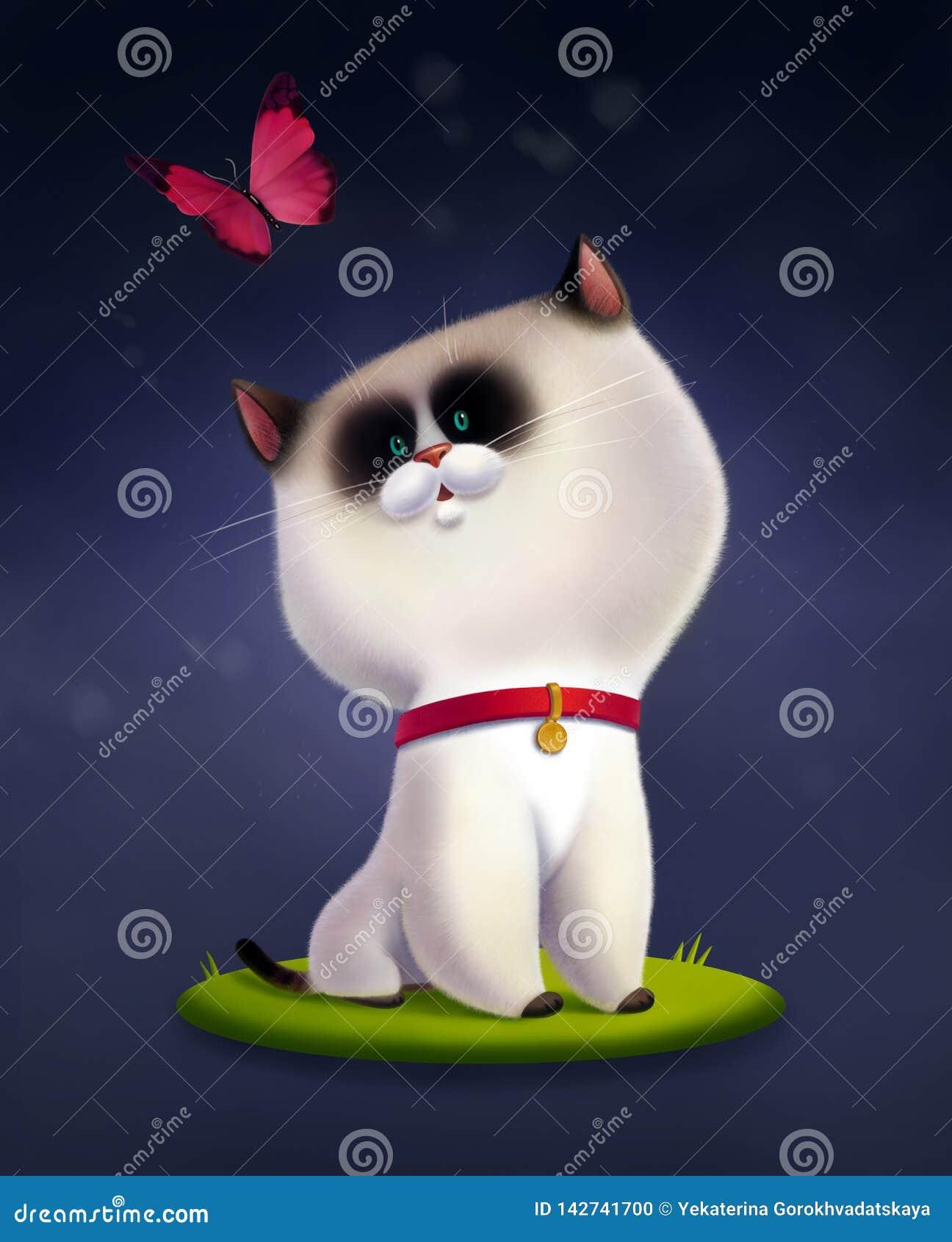 Kinderillustration der siamesischen Katze stationierend auf dem Gras und dem Fliegen des rosa Schmetterlinges oben betrachtend