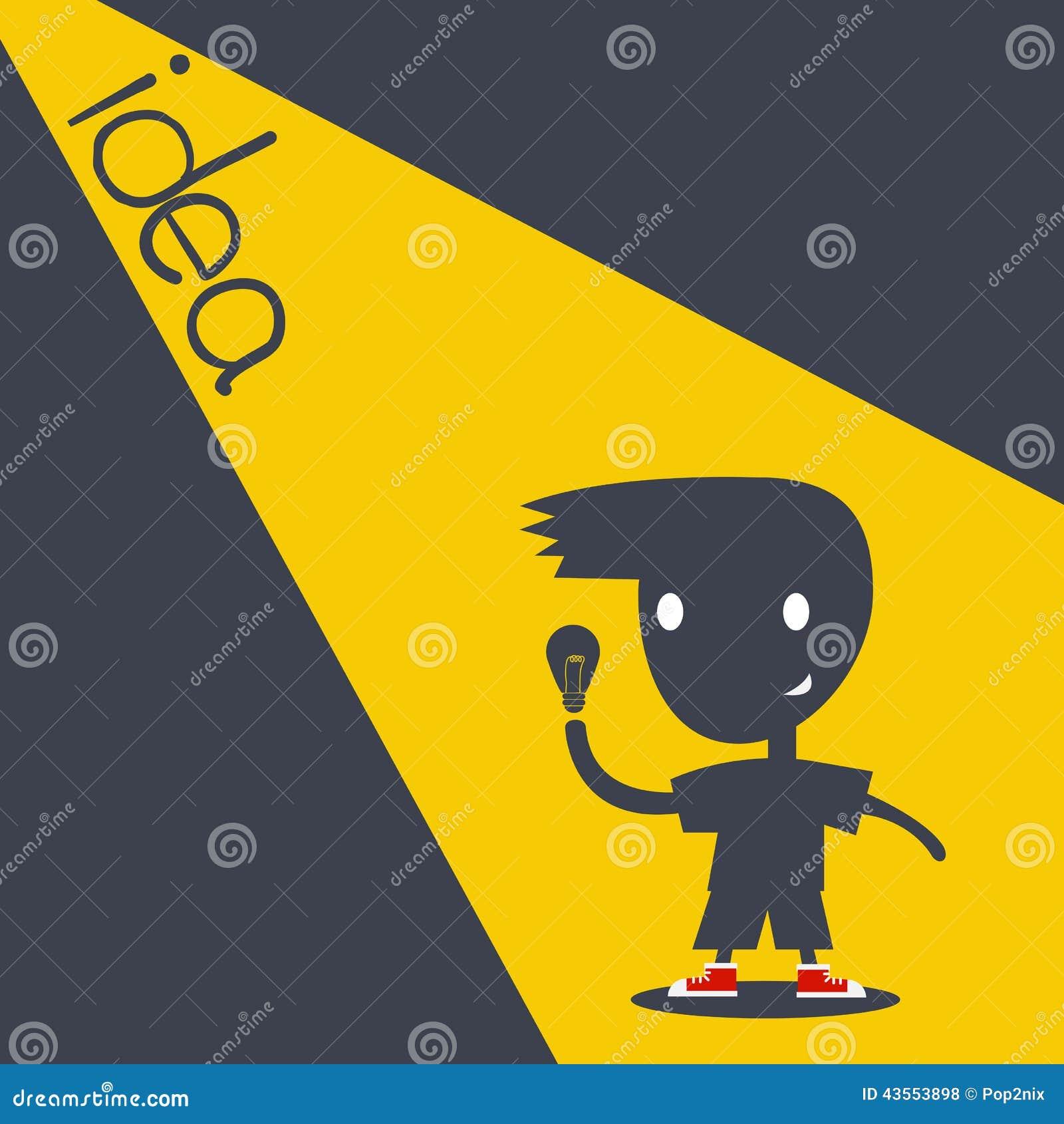 Kinderkarikatur-Schattenart, die Idee erhält