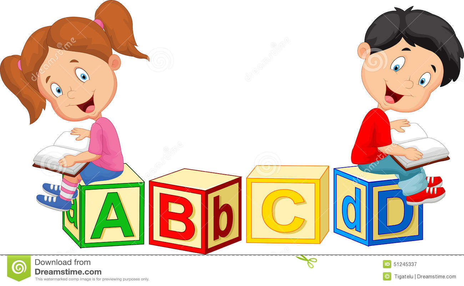 Kinderkarikaturlesebuch und -sitzen auf Alphabetblöcken