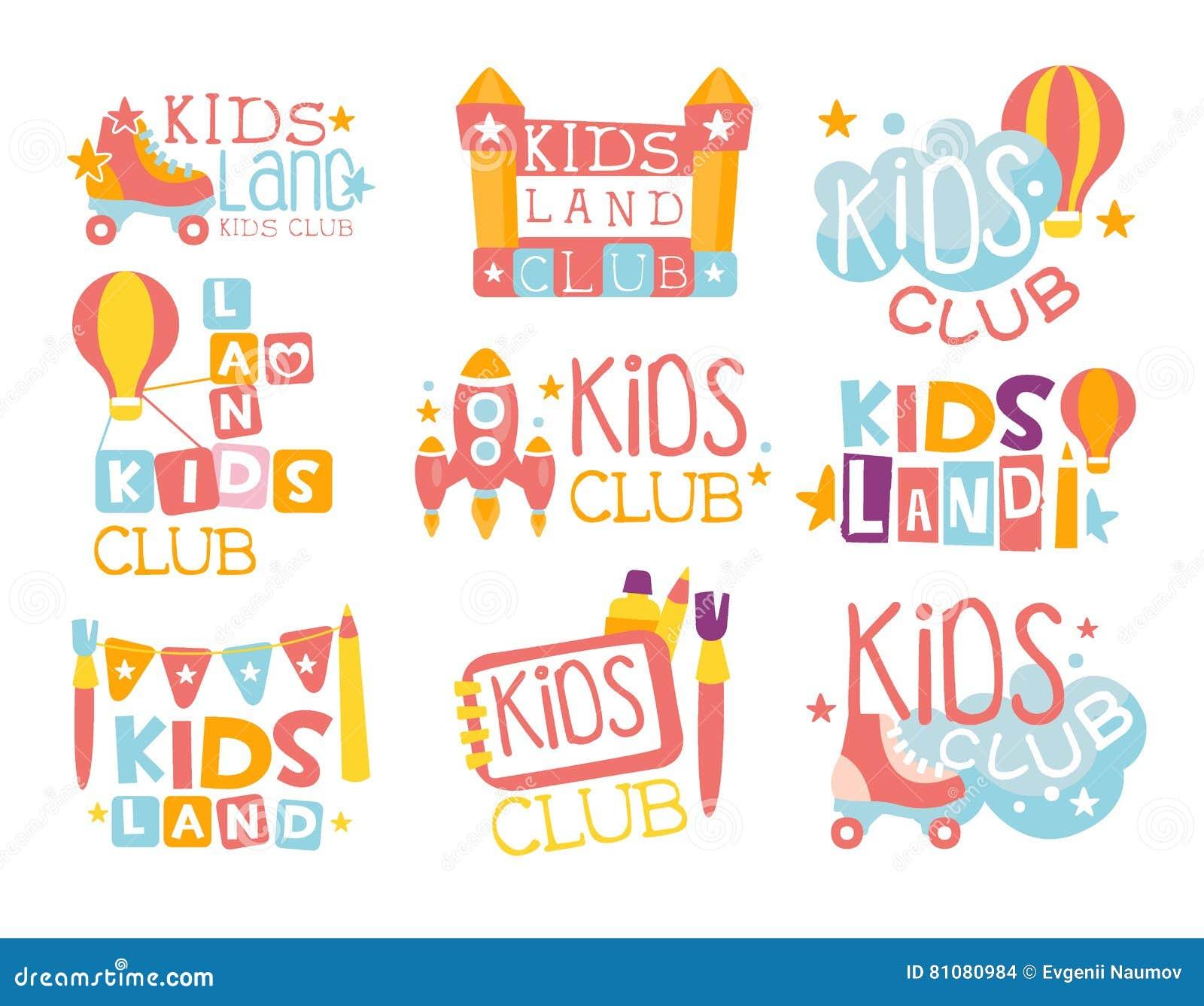 Kinderland-Spielplatz und Unterhaltungs-Verein-Satz bunte Promo-Zeichen für den spielenden Raum für Kinder