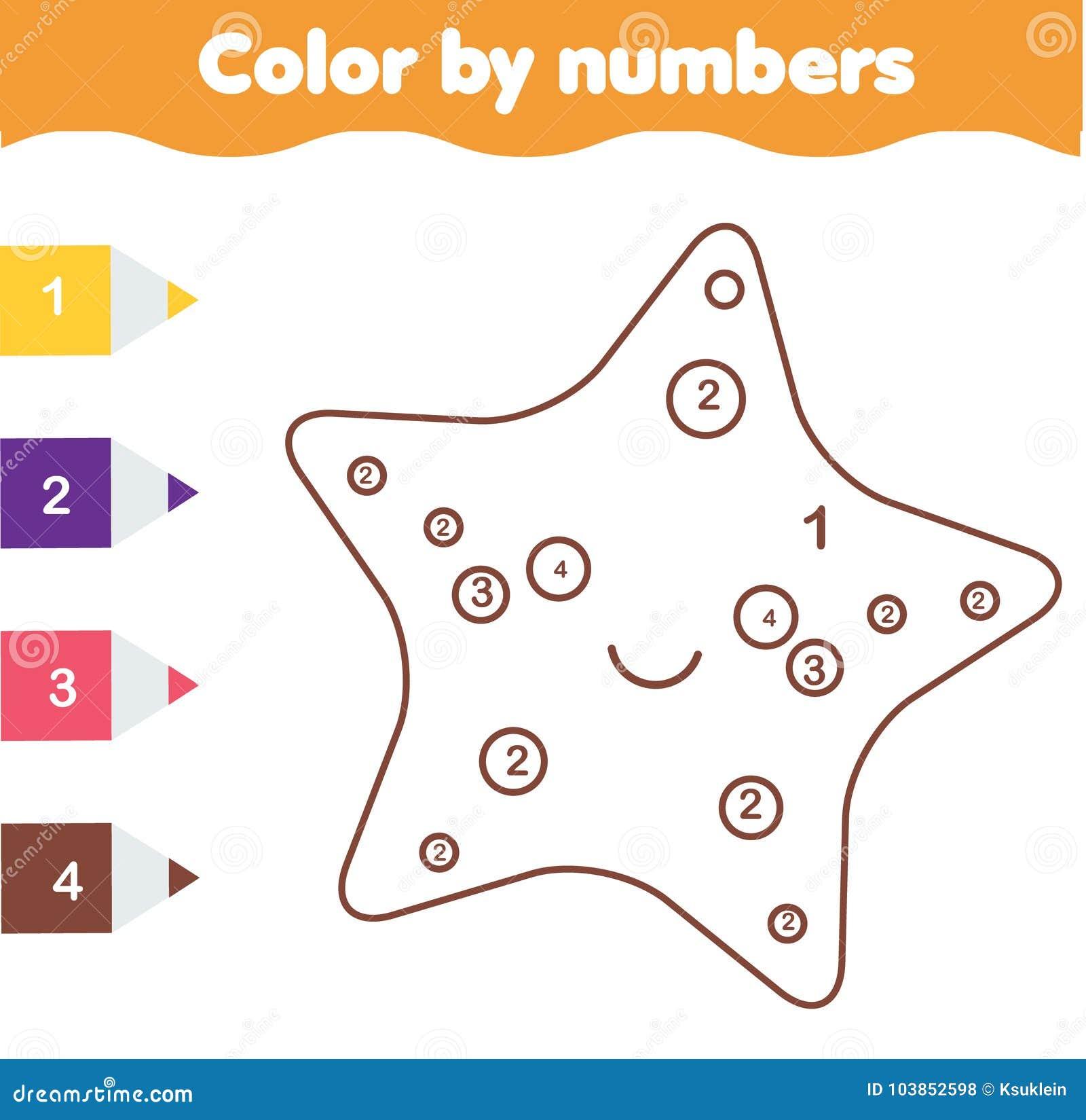 Kinderlernspiel Farbtonseite Mit Netten Sarfish Farbe Durch Zahlen ...