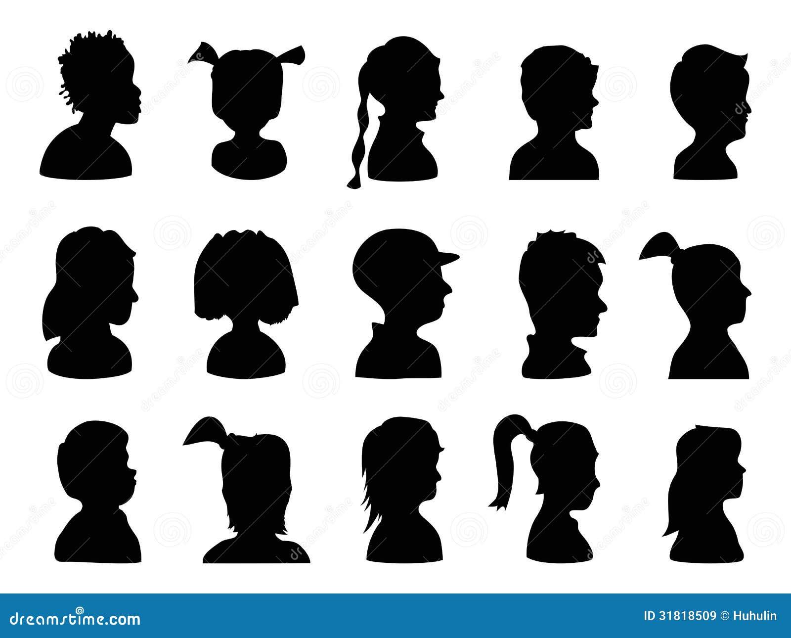 Kinderprofil schattenbilder vektor abbildung - Schattenbilder kinder ...