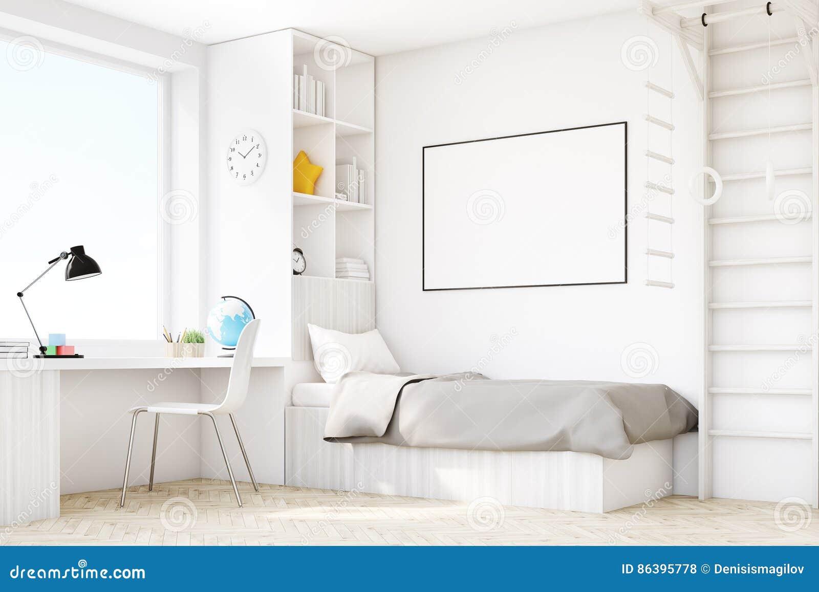 Kinderraum Mit Einem Bett Und Einer Tabelle Ecke Stock Abbildung