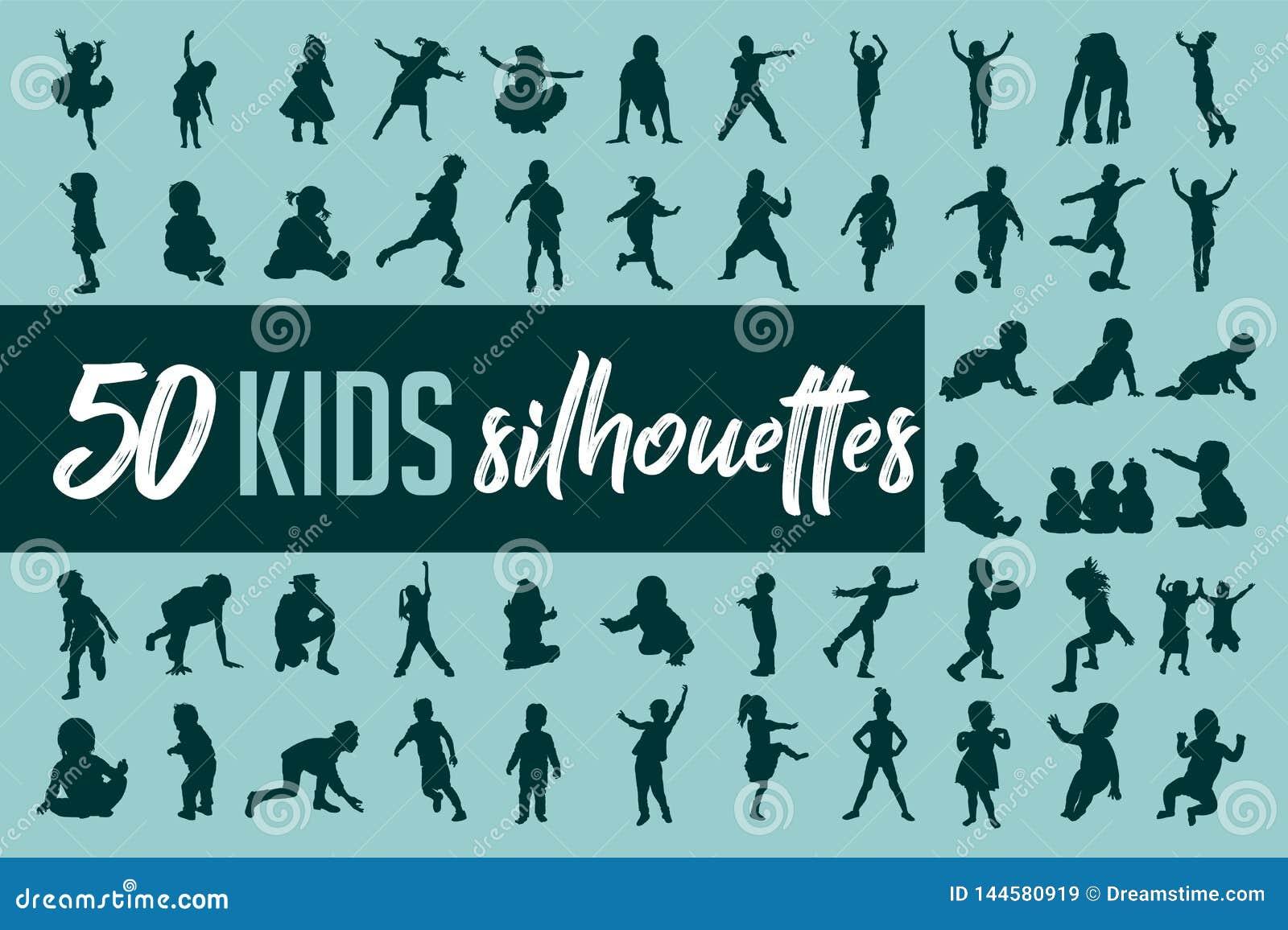 Kinderschattenbild-Sammlungsvektor