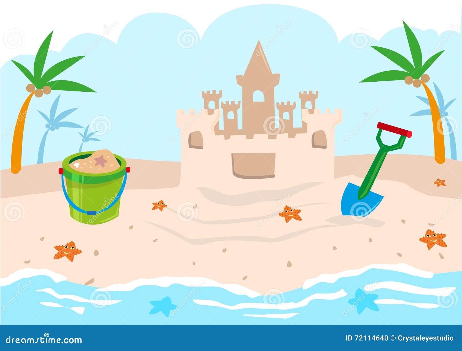 Strand clipart  Kinderschloss-Gebäude-Werkzeuge Auf Einem Strand Editable Clipart ...