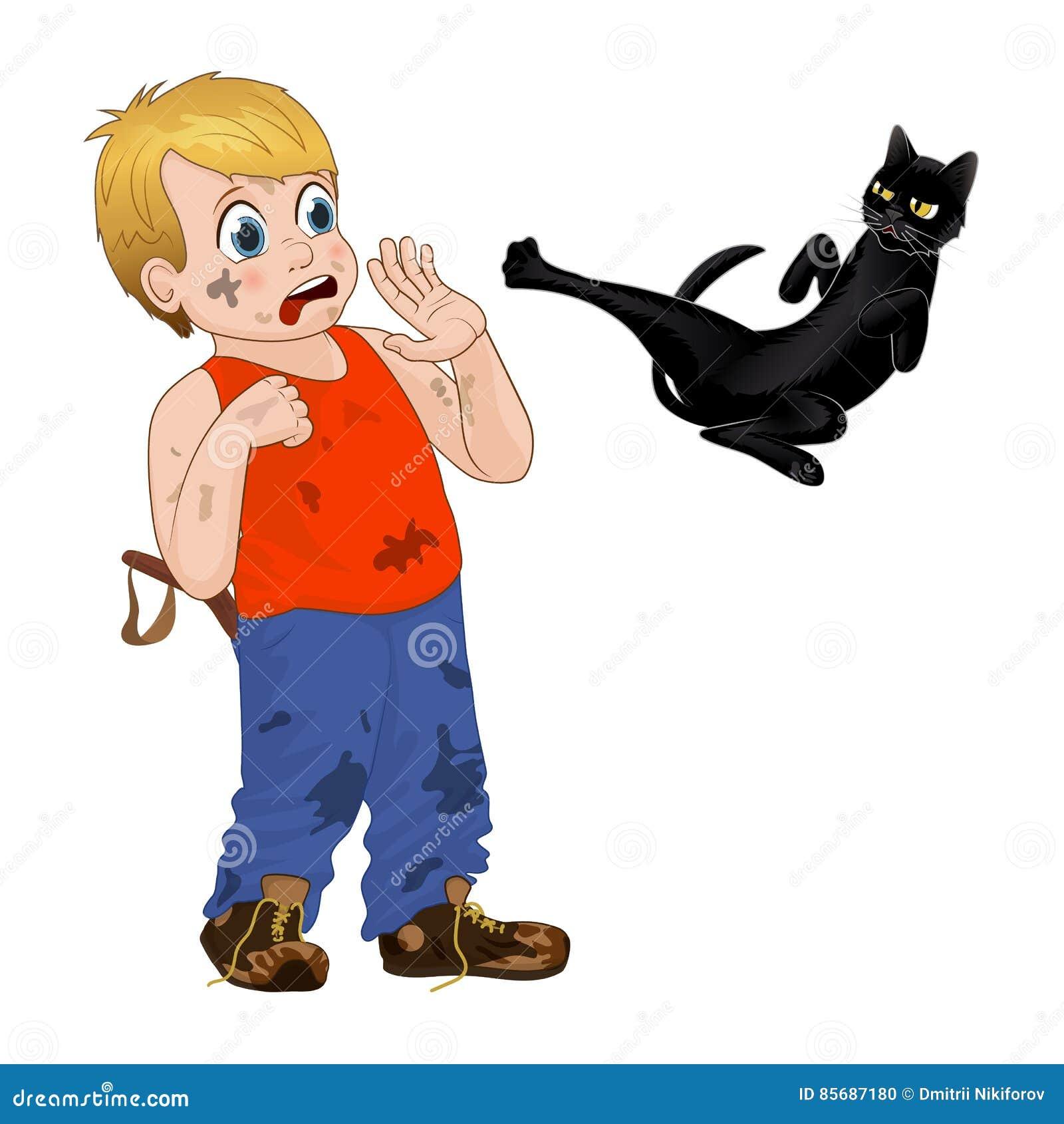 Kinderspiel draußen, netter kleiner Junge des Strolchs erschrak die schwarze Katze Lustige Zeichentrickfilm-Figur Vektor