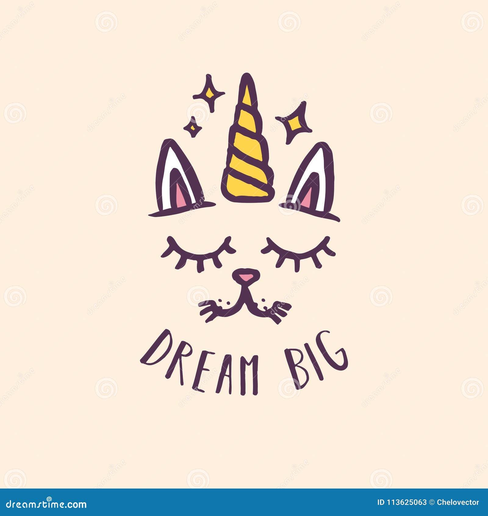 Kindertagesstättendruck des Einhorns der großen Katze gezeichneter Traumhand Auch im corel abgehobenen Betrag