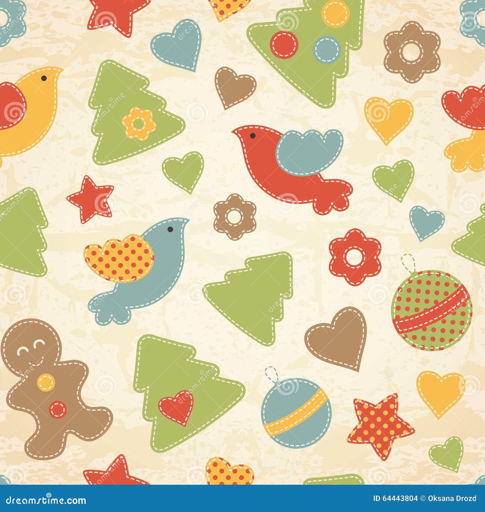 Kindisches Weihnachtsnahtloses Muster mit Weihnachtsbäumen, Vögel, Lebkuchenmänner