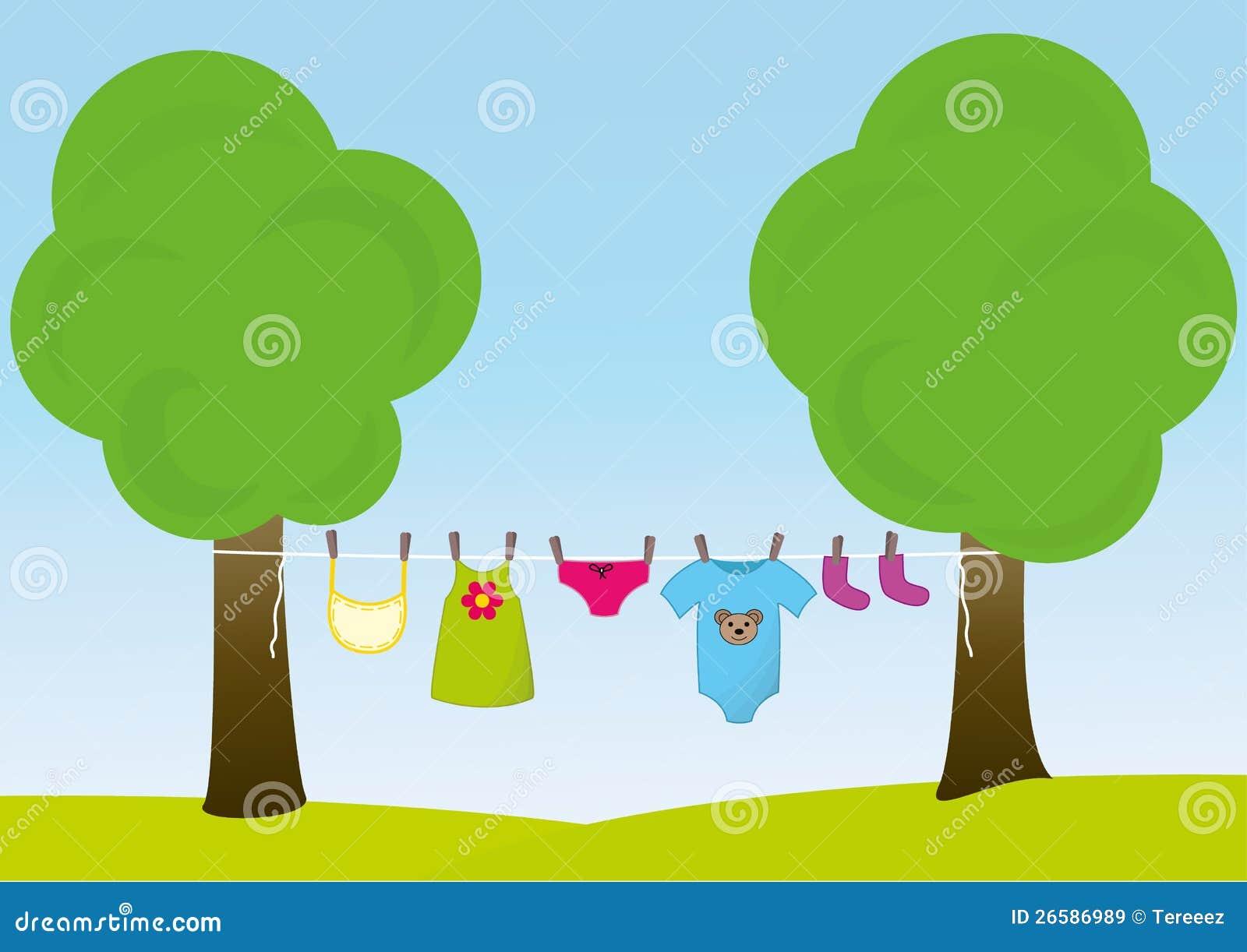 Kindkleidung Auf Der W 228 Scheleine Lizenzfreie Stockbilder