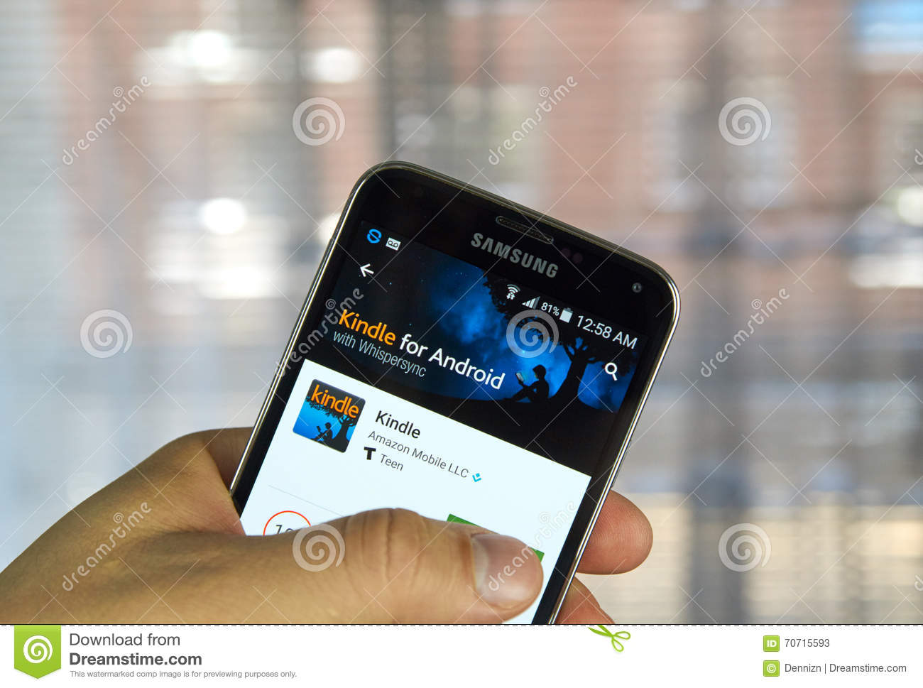 Kindle android app editorial stock photo  Image of touchscreen