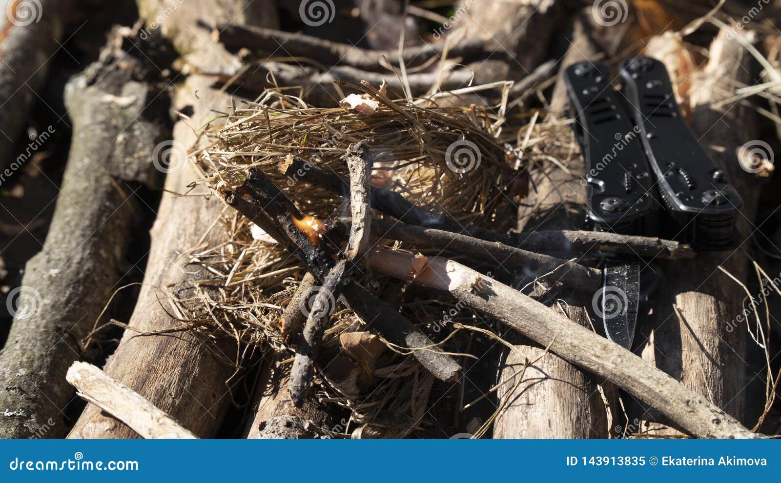 Kindle ein Feuer vom trockenen Gras, vom Holz und vom Brennholz