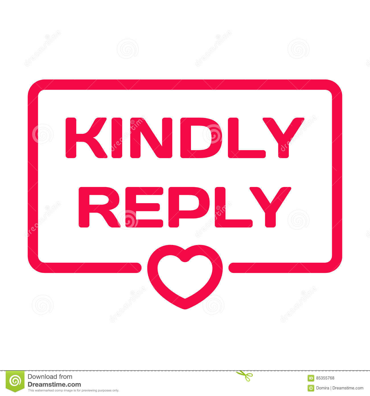 Kindly Reply Flat Icon Wedding Dialog Bubble Heart Stamp Stock
