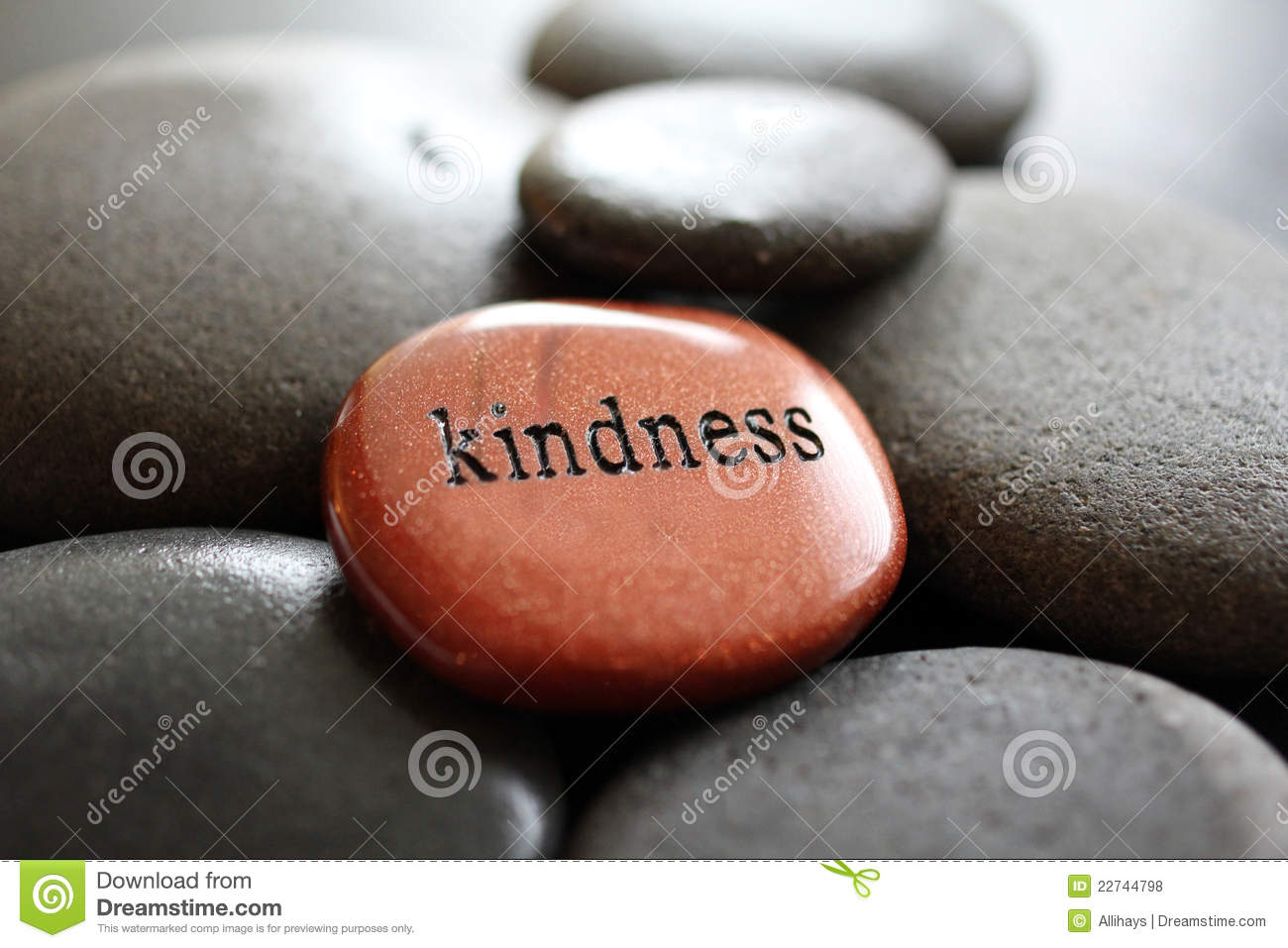 The word Kindness carved in goldstone resting on river rocks.