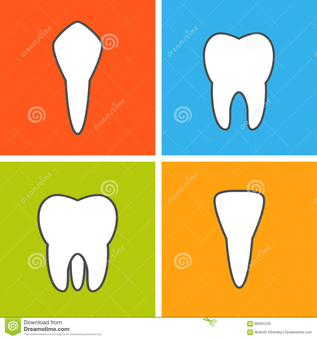 tooth types illustration royalty free cartoon. Black Bedroom Furniture Sets. Home Design Ideas