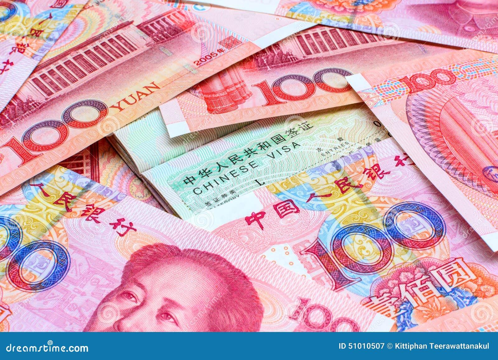 Kines Yuan Note med det kinesiska visumet