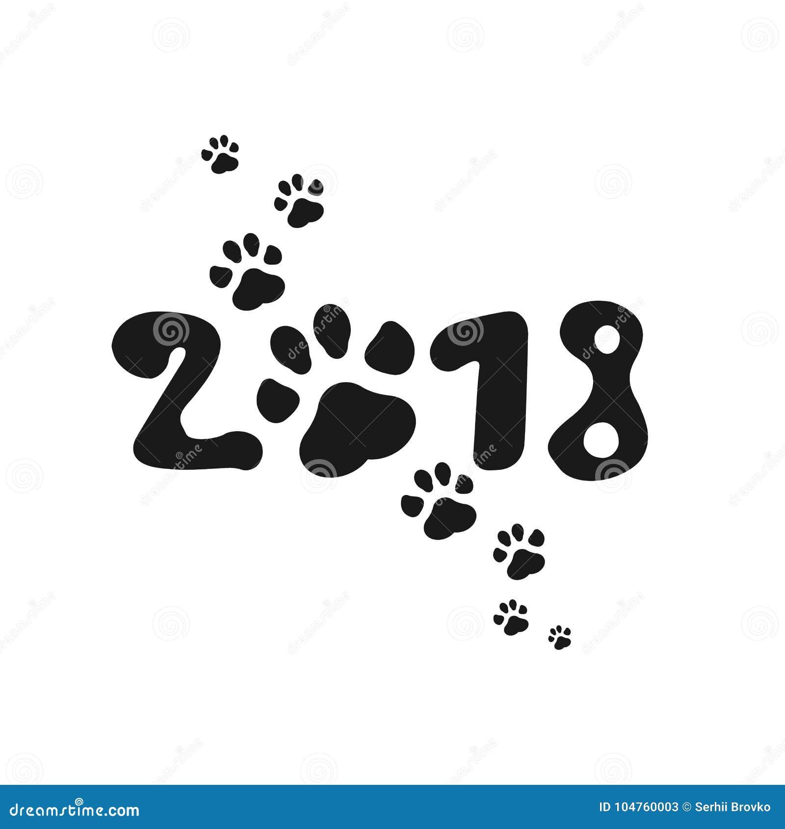 Kinesisk kalender för det nya året av hunden 2018 Paw Print också vektor för coreldrawillustration Originell design