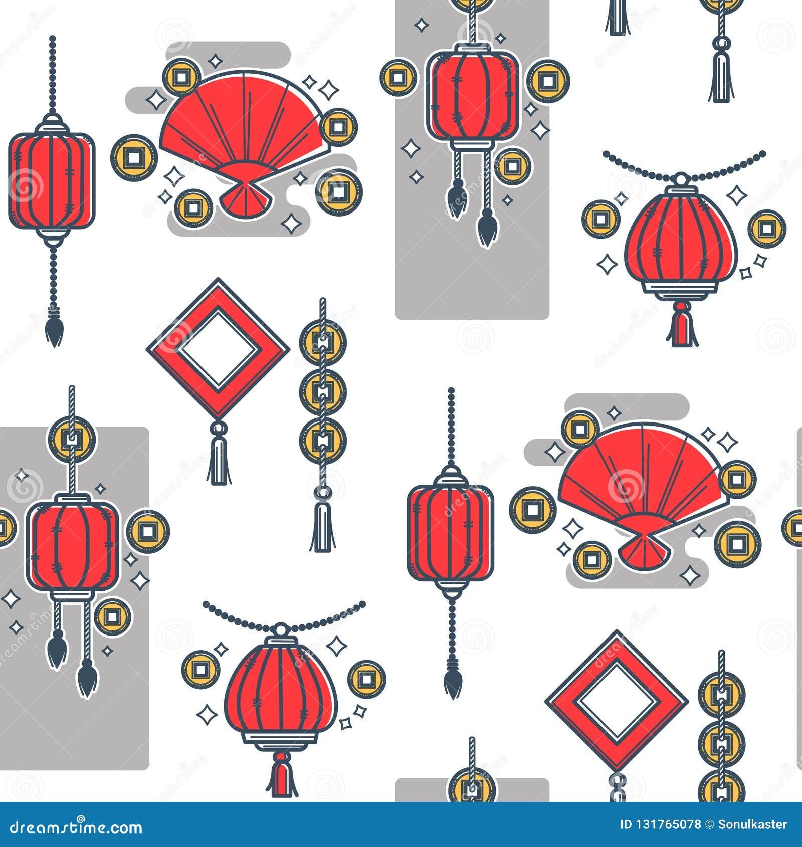 Kinesisk lykta som göras av legitimationshandlingar, sömlös orientalisk stil