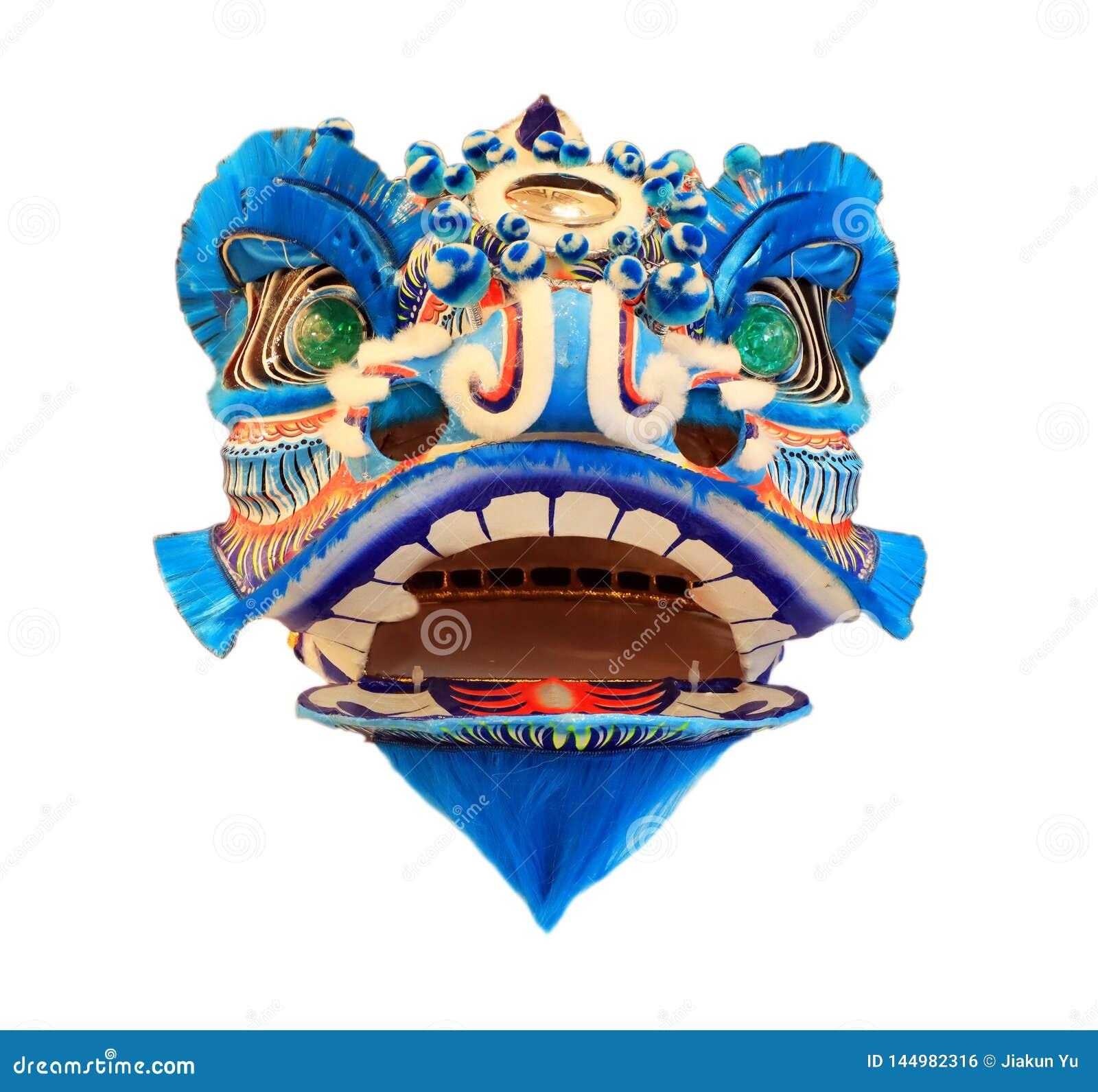 Kinesisk maskering för huvud för lejondans som isoleras på vit bakgrund, kinesisk stil som är blå