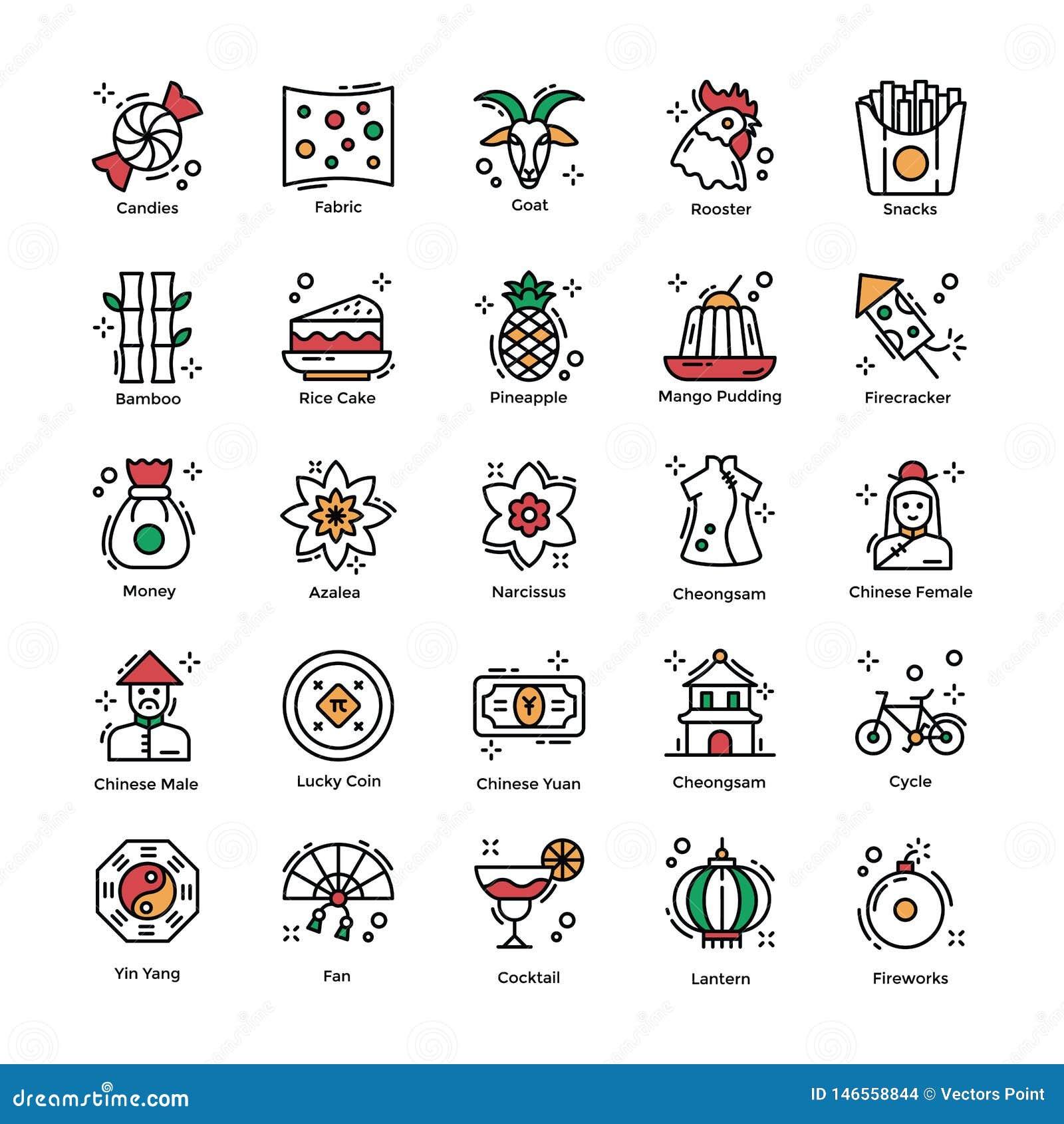 Kinesiska symboler för berömmar för nytt år plana packar