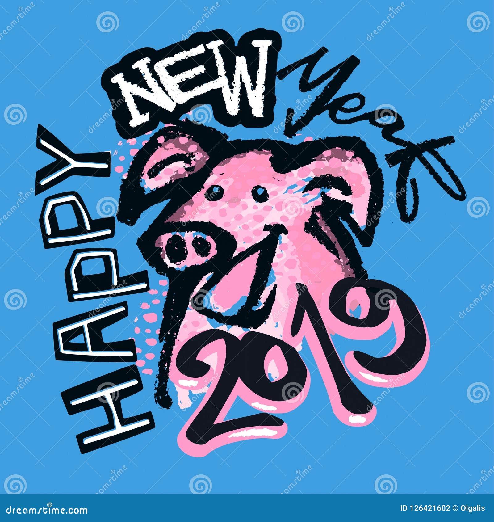 2019 kinesiska zodiakteckenår av det skraj trycket för svin