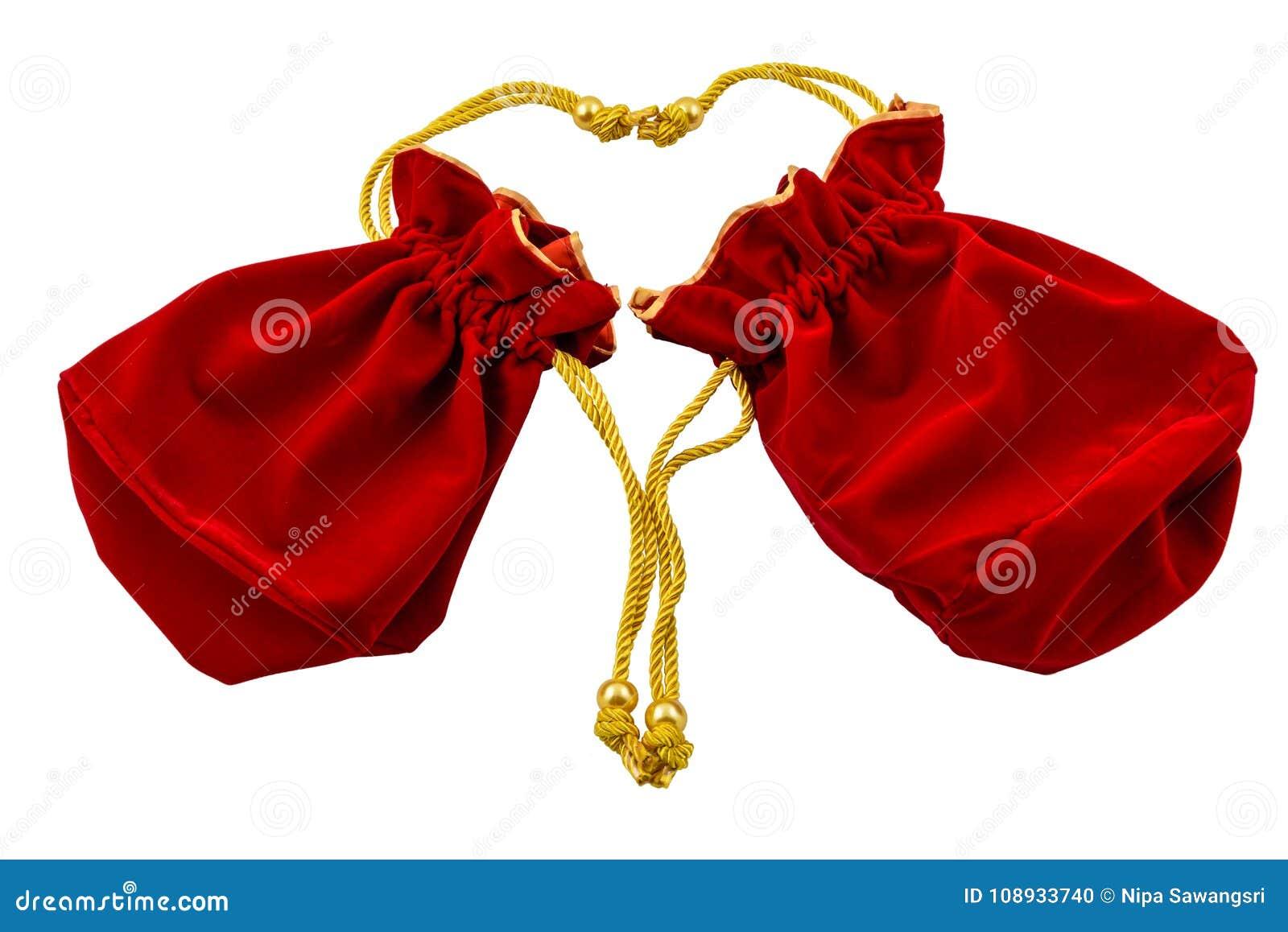 Kinesiskt rött tyg för nytt år eller siden- påse, ang-pow av lyckaisolat