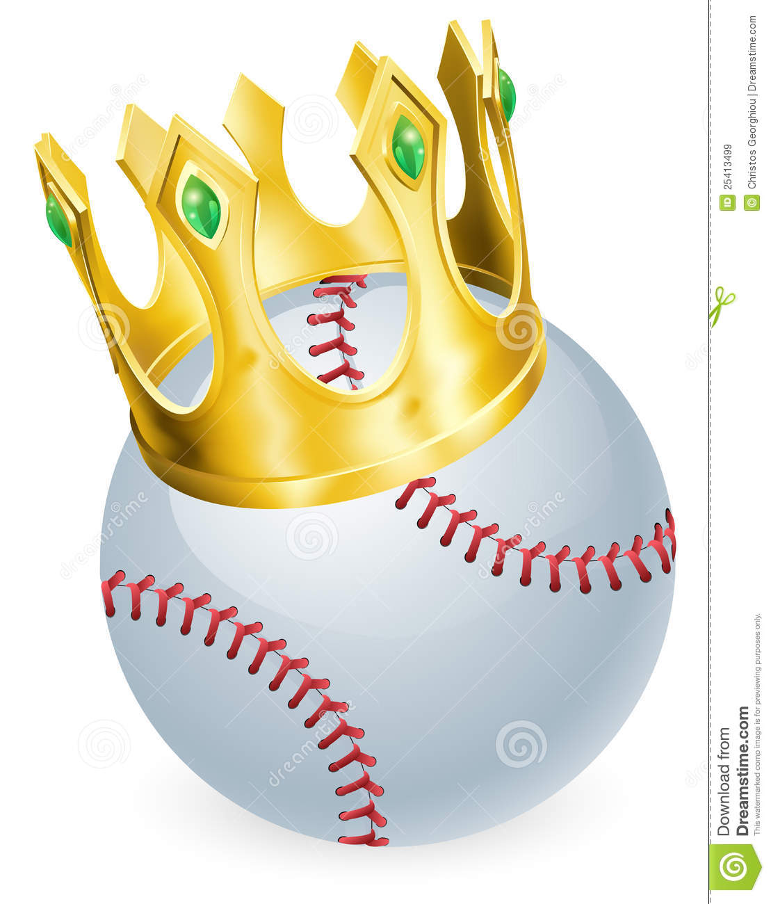 King of baseball concept, a baseball ball wearing a gold crown.