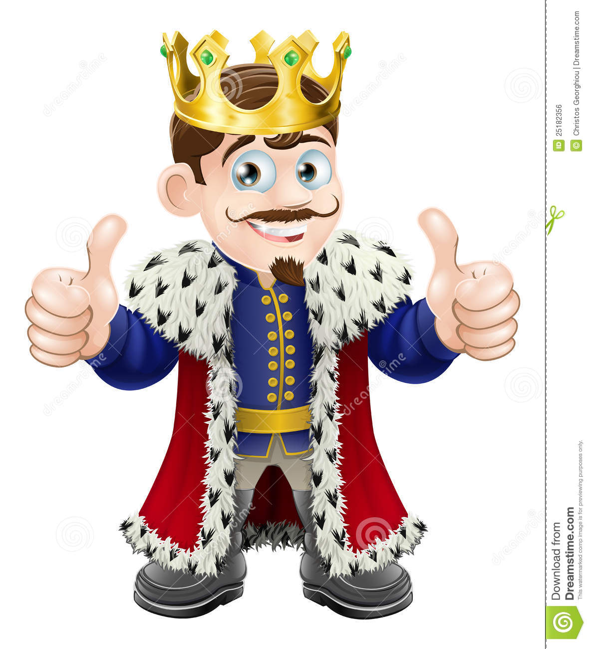 Cartoon illustration of a cute king with crown and cape giving a ...