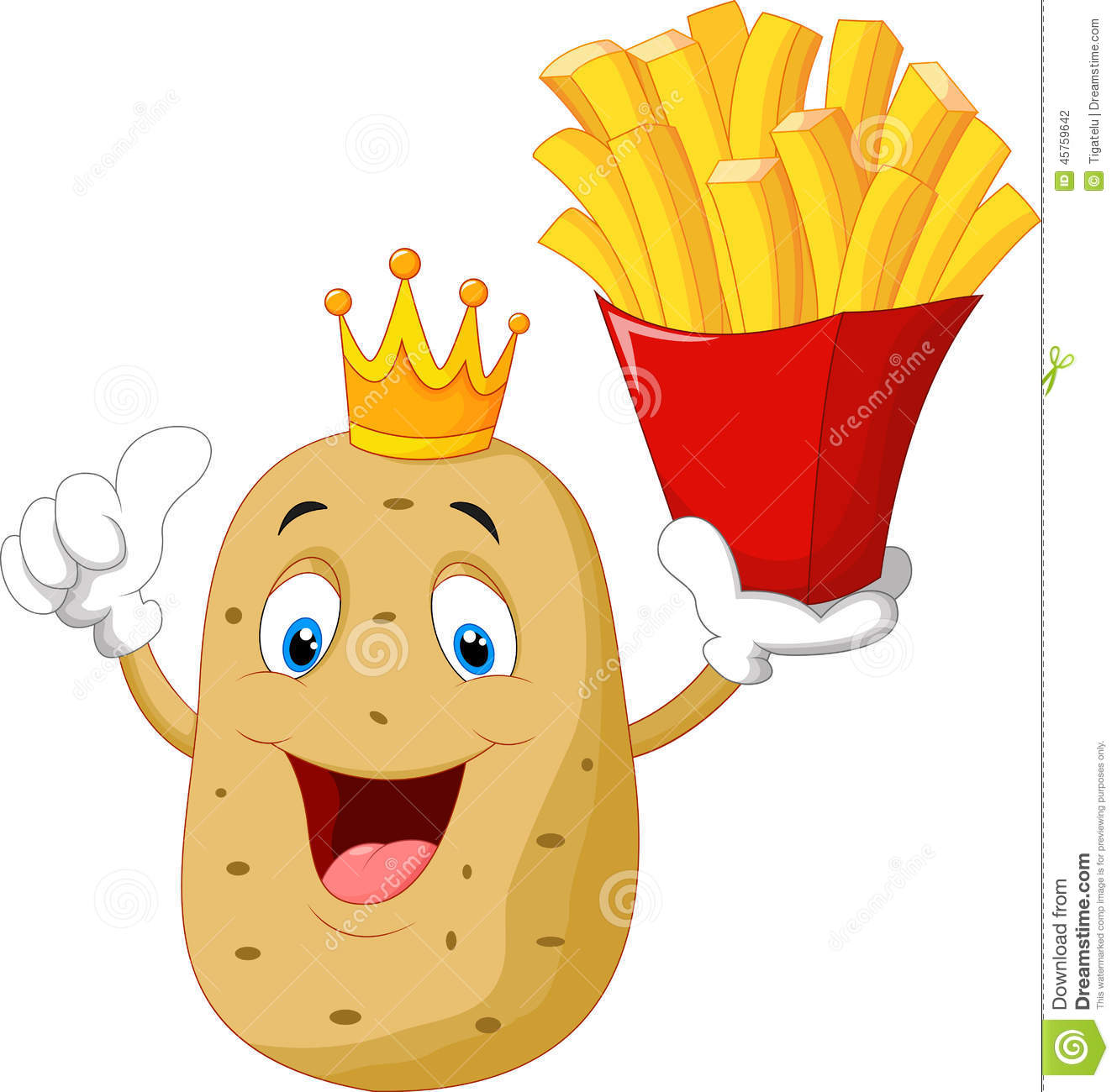 king chef potato cartoon holding a french fries stock