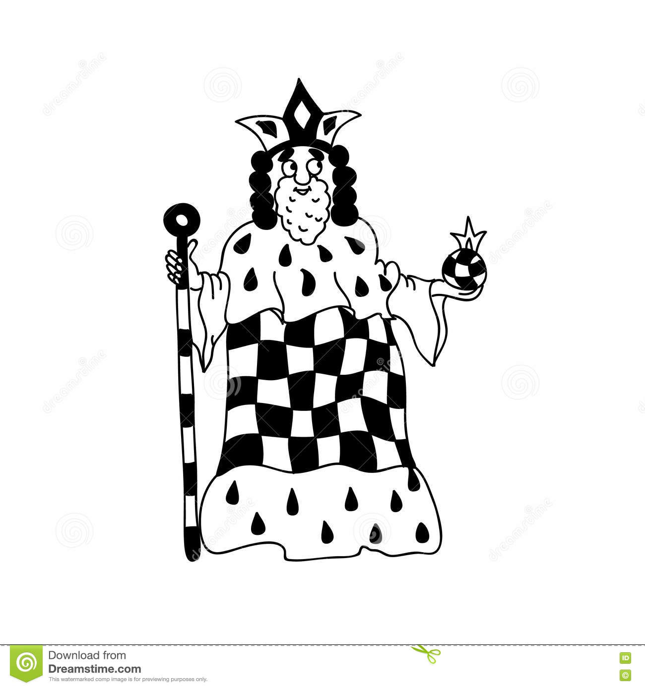 Download King Coloring Page Chess Figurine Isolated On White Stock Illustration