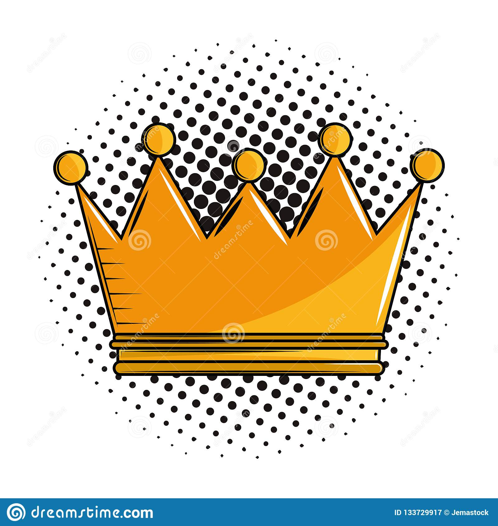 King Crown Cartoon Pop Art Stock Vector Illustration Of Graphic