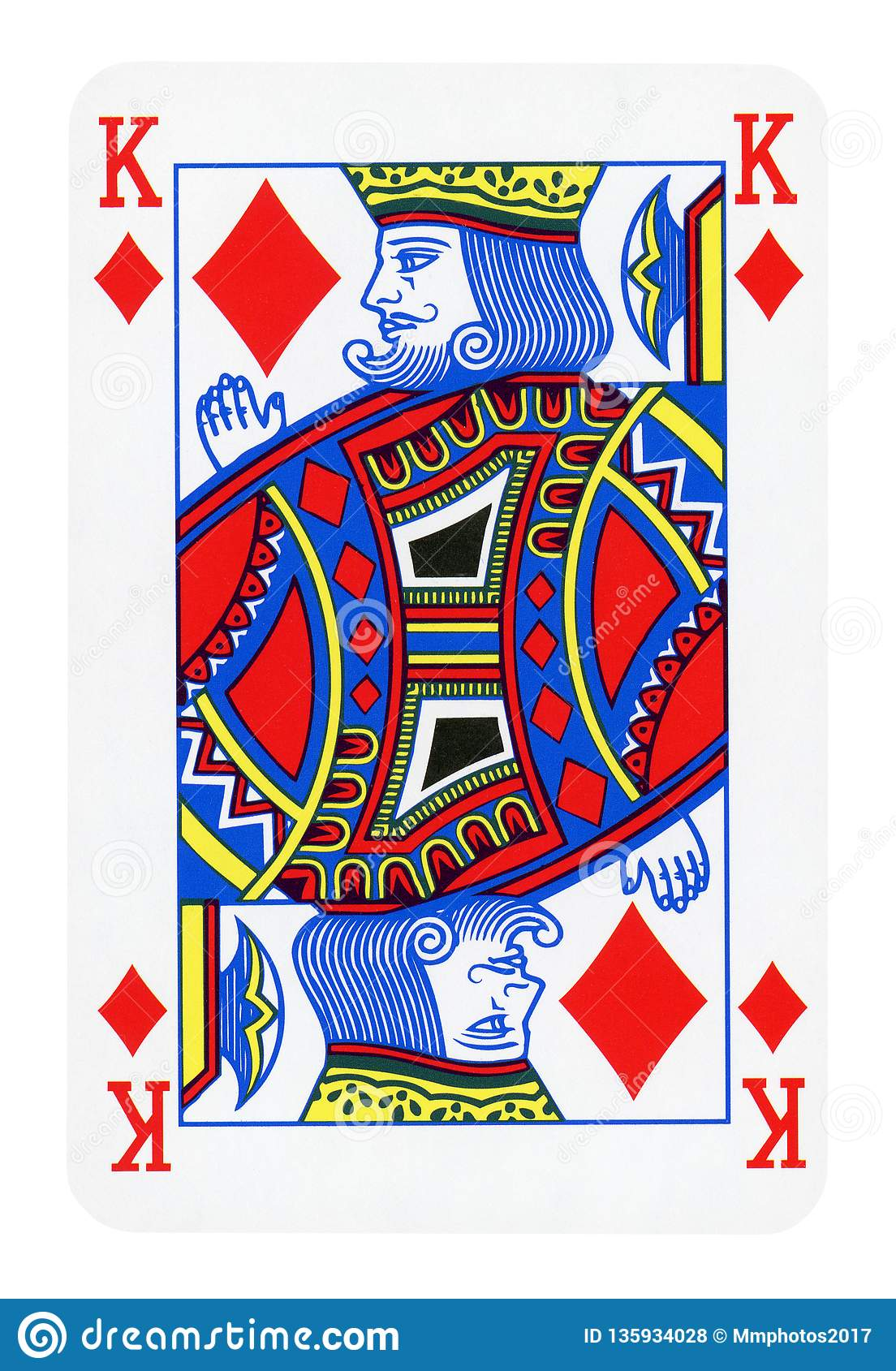 King Of Diamonds Playing Card Isolated On White Stock ...