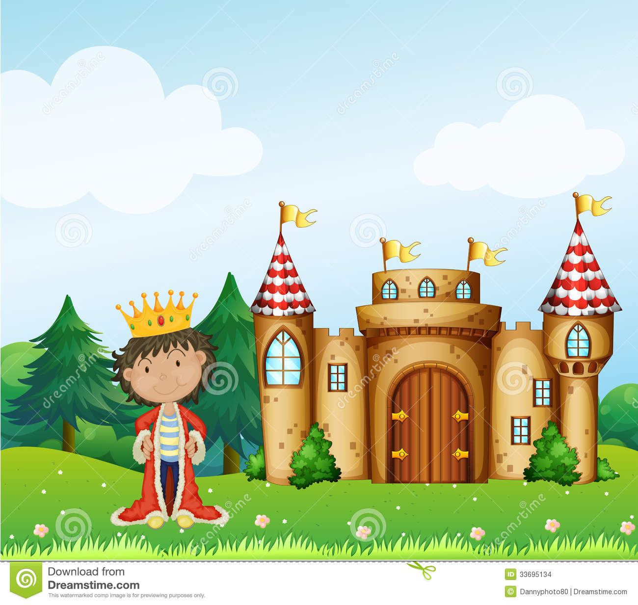 A King In Front Of His Castle Stock Vector