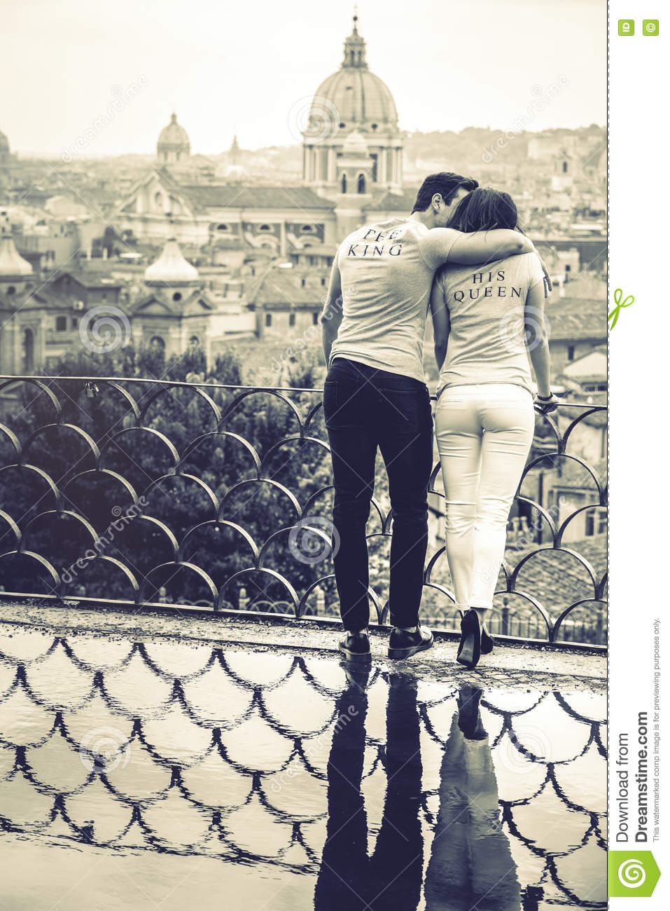 The king his queen romantic couple in rome italy black and white